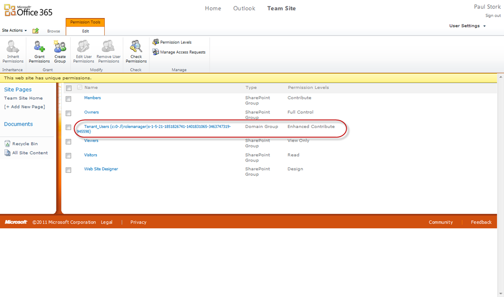 managing default permissions in sharepoint online office 365