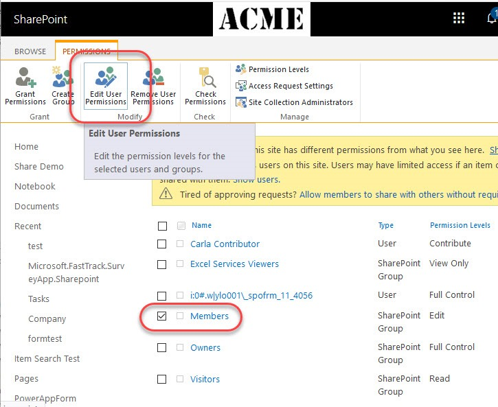 Changing Default Permissions in Office 365 Group Sites – What Me Pa